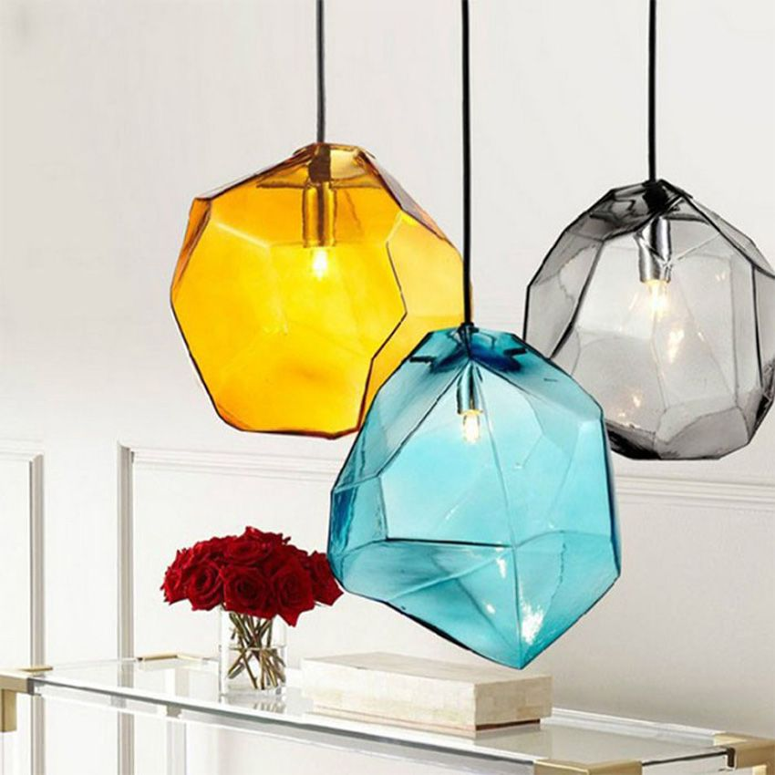 Modern Colorful Glass Pendant Light Hanging Lamp 6 Colors G9 Led
