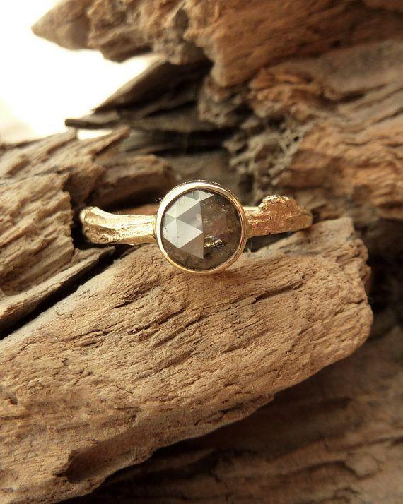 rose cut diamond ring in twig band by kateszabone on etsy