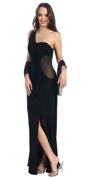 Gathered One Shoulder Long Formal Dresses