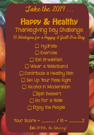 healthy thanksgiving challenge eat drink be skinny