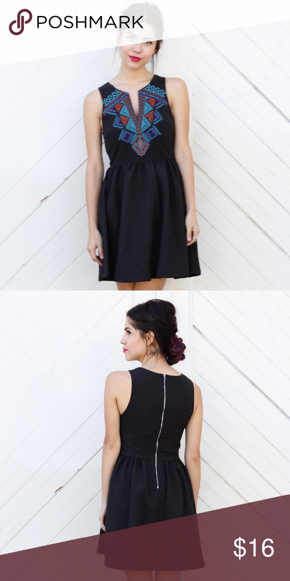 Black Fit Flare Dress With Aztec Embroidery Boutique In 2018 My