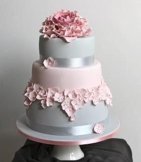 Beautiful Soft Pink And Gray Cake