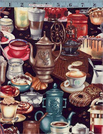 I Love Coffee, Elizabeth Studio, Fruits, Vegetables & Edibles, Ladybutton Fabrics