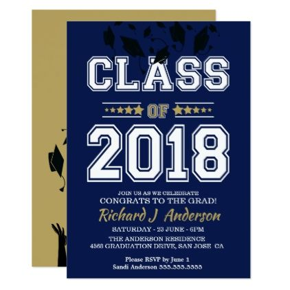 Caps off class of 2018 blue and gold grad party card caps off class of 2018 blue and gold grad party card graduation party invitations card stopboris Choice Image