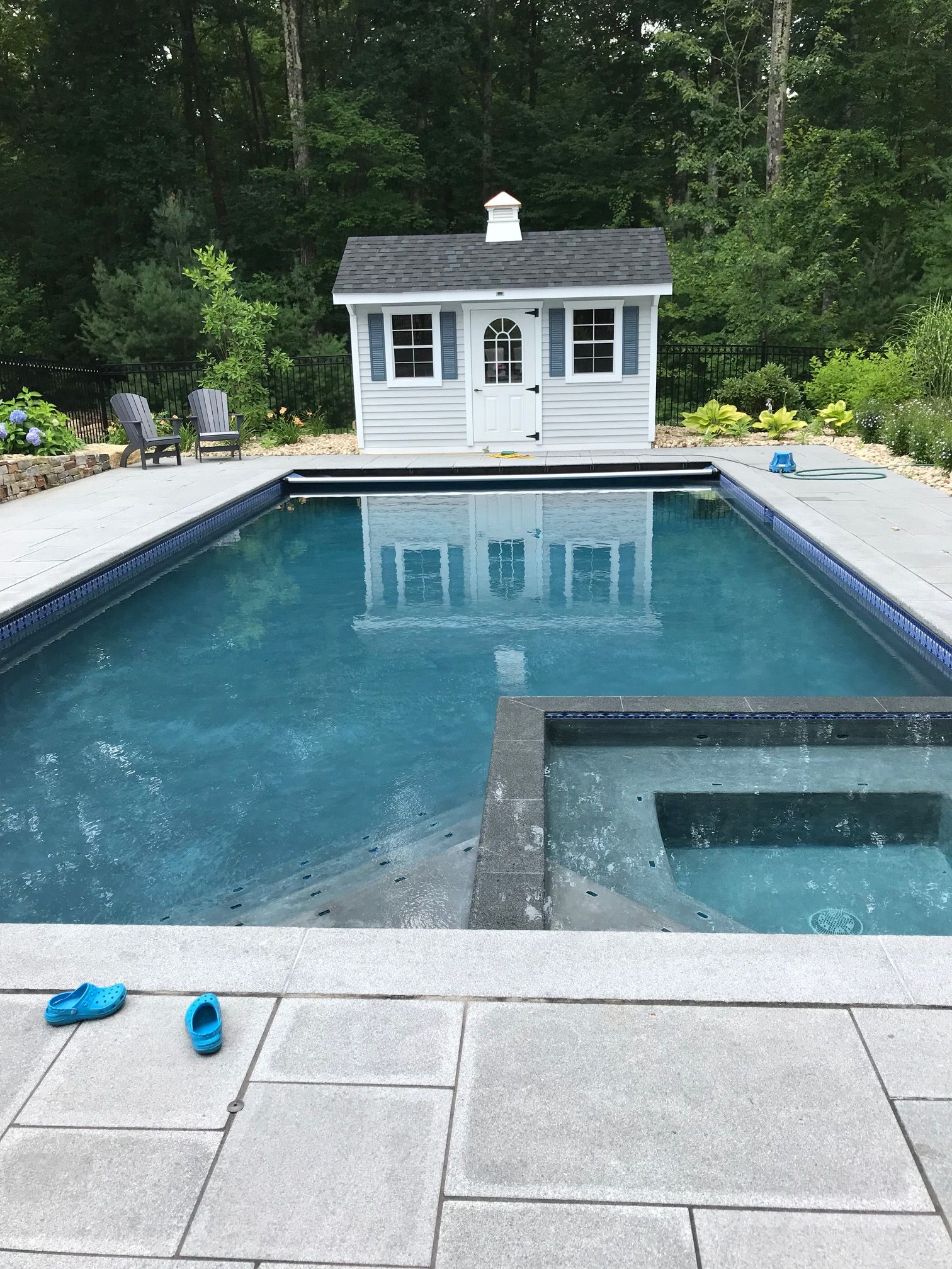 Medium Gray Plaster Swimming Pool Landscaping Backyard Pool Pool