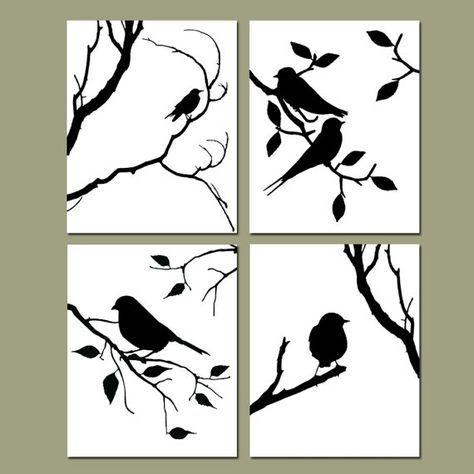 Dies ist eine Sammlung von vier modernen 8 x 10-Vogel-Silhouette ...