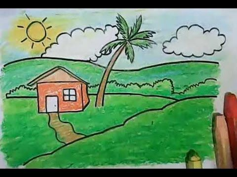 Learn How To Draw Landscape With A House Coconut Tree And