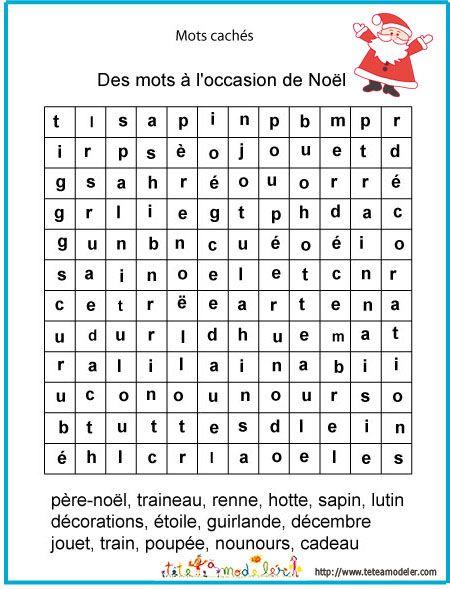 coloriage imprimer le jeu de mots cachs mots de nol