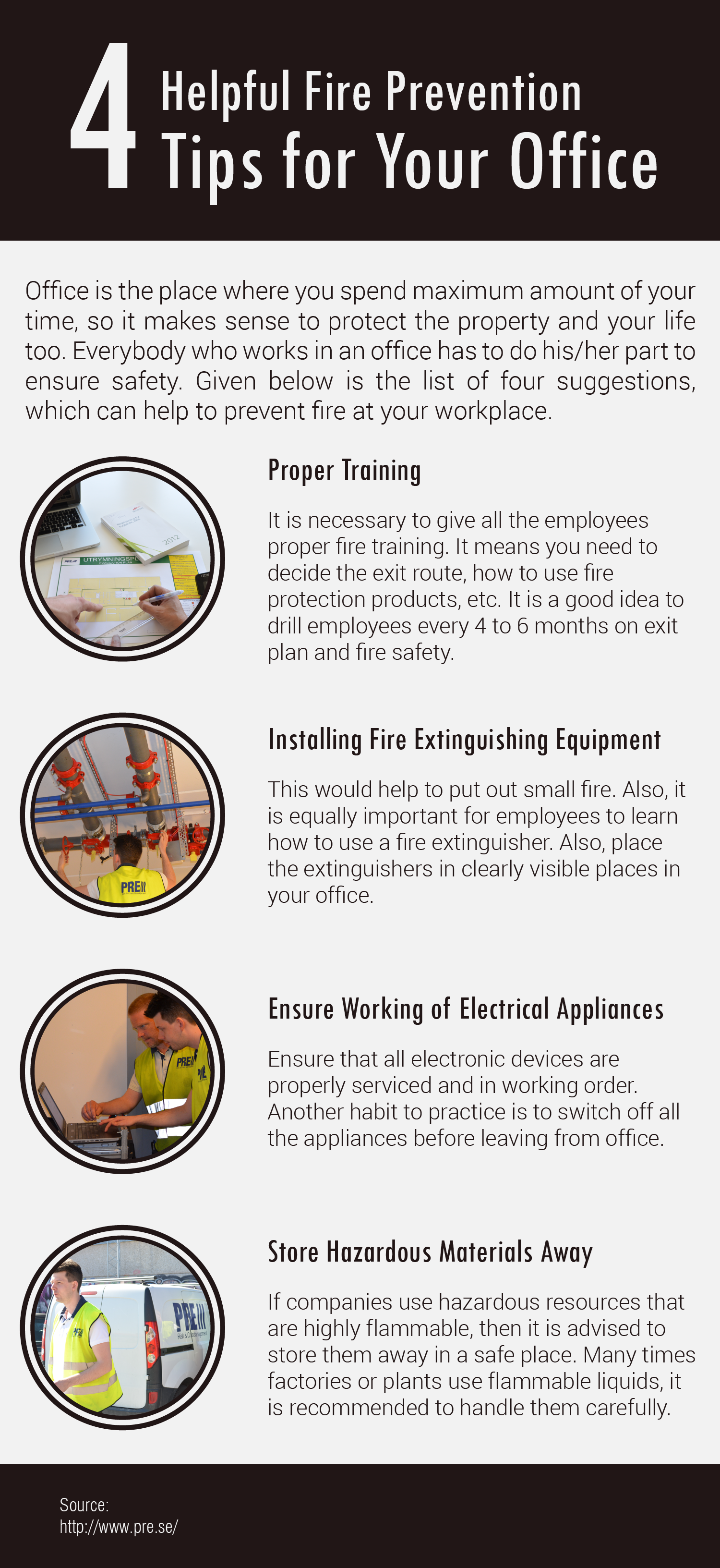 Fire prevention tips and fire protection training to the
