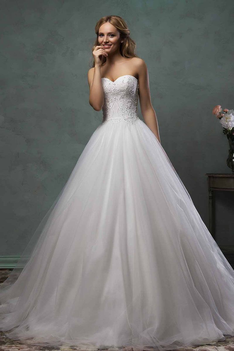 Sweetheart Formal Ball Gown Wedding Dress with Pearls Beaded ...
