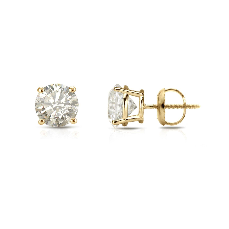 Auriya 18k Gold 1 2ct Tdw 4 G Back Clarity Enhanced Diamond Stud Earrings J K I2 I3 Yellow Women S Size Small