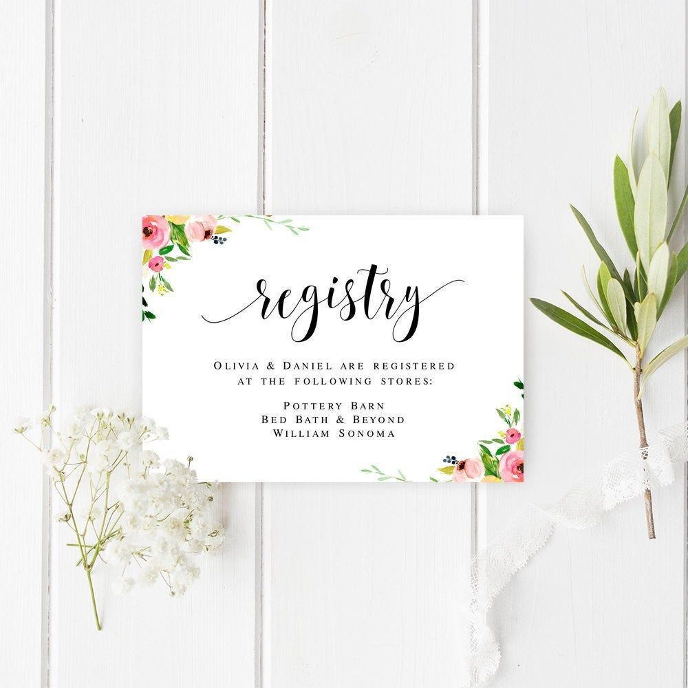 Floral Registry Card Template Fully Editable Insert Card Gift Registry Card Printable Wedding Enclosure Card Instant Download Templett V 2020 G