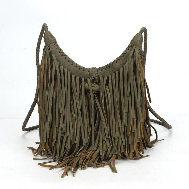 Hoxis Studded Tassel Faux Suede Leather Hobo Cross Body Chain Shoulder Bag Women/'s Satchel