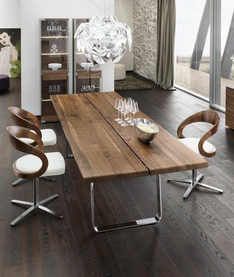 mesa madera acento rustico comedor madera reciclada ideas ...