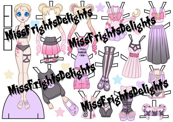 pastel goth sailor moon inspired paper doll by missfrightsdelights