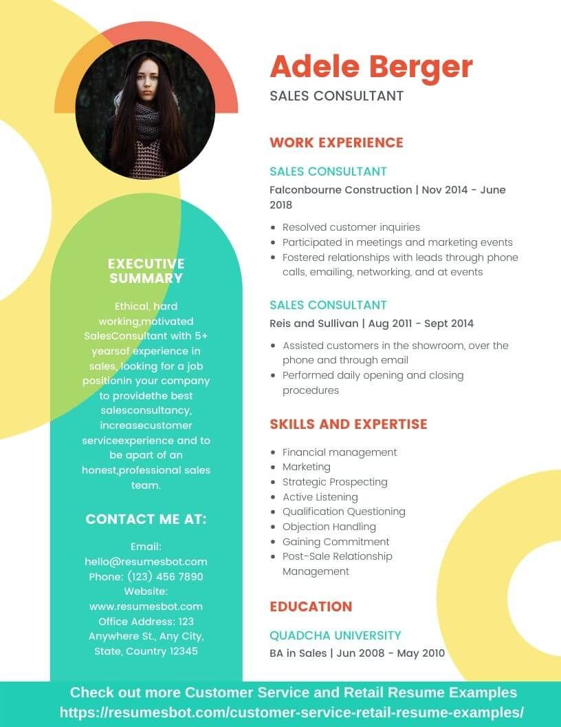 Sales consultant resume samples and tips pdfdoc
