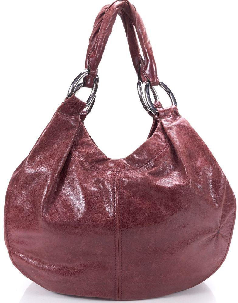 MIU MIU Burgundy Red Distressed Leather Snap Closure Hobo Shoulder Bag   MiuMiu  Hobo 46bc0cc069069