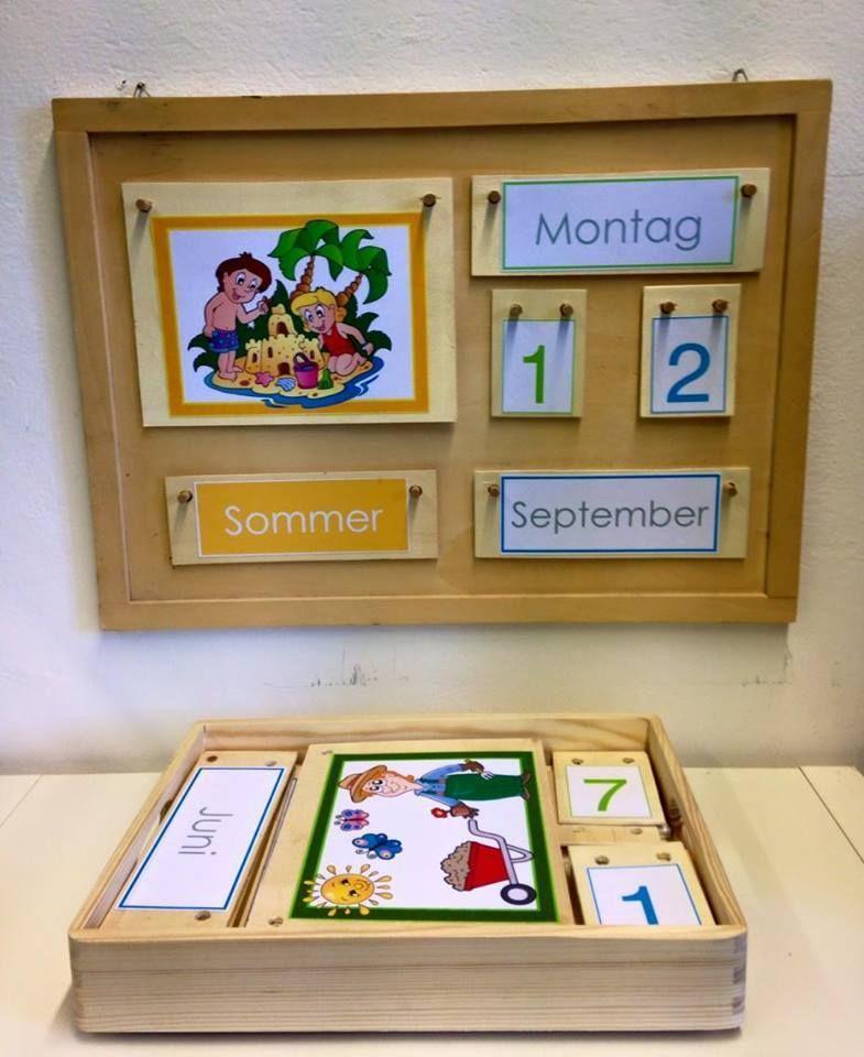 Englischer Holzkalender Dauerkalender Montessori