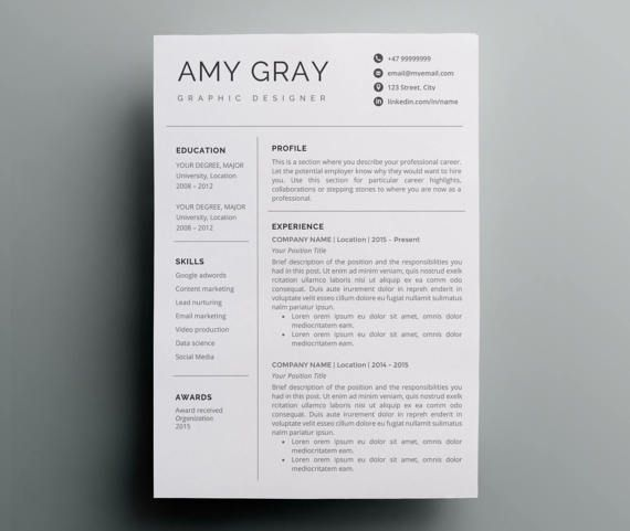 Resume Template Instant Download CV template + Cover Letter - cv template download