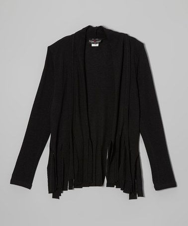 Look what I found on #zulily! Black Fringe Open Cardigan - Girls by Zoe #zulilyfinds