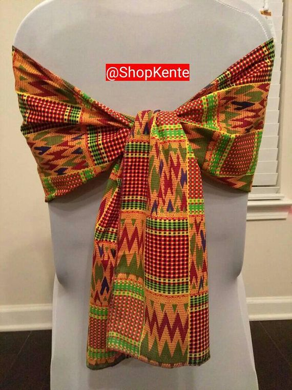 Kente Chair Sash African Events Chair Sash Decorate Your