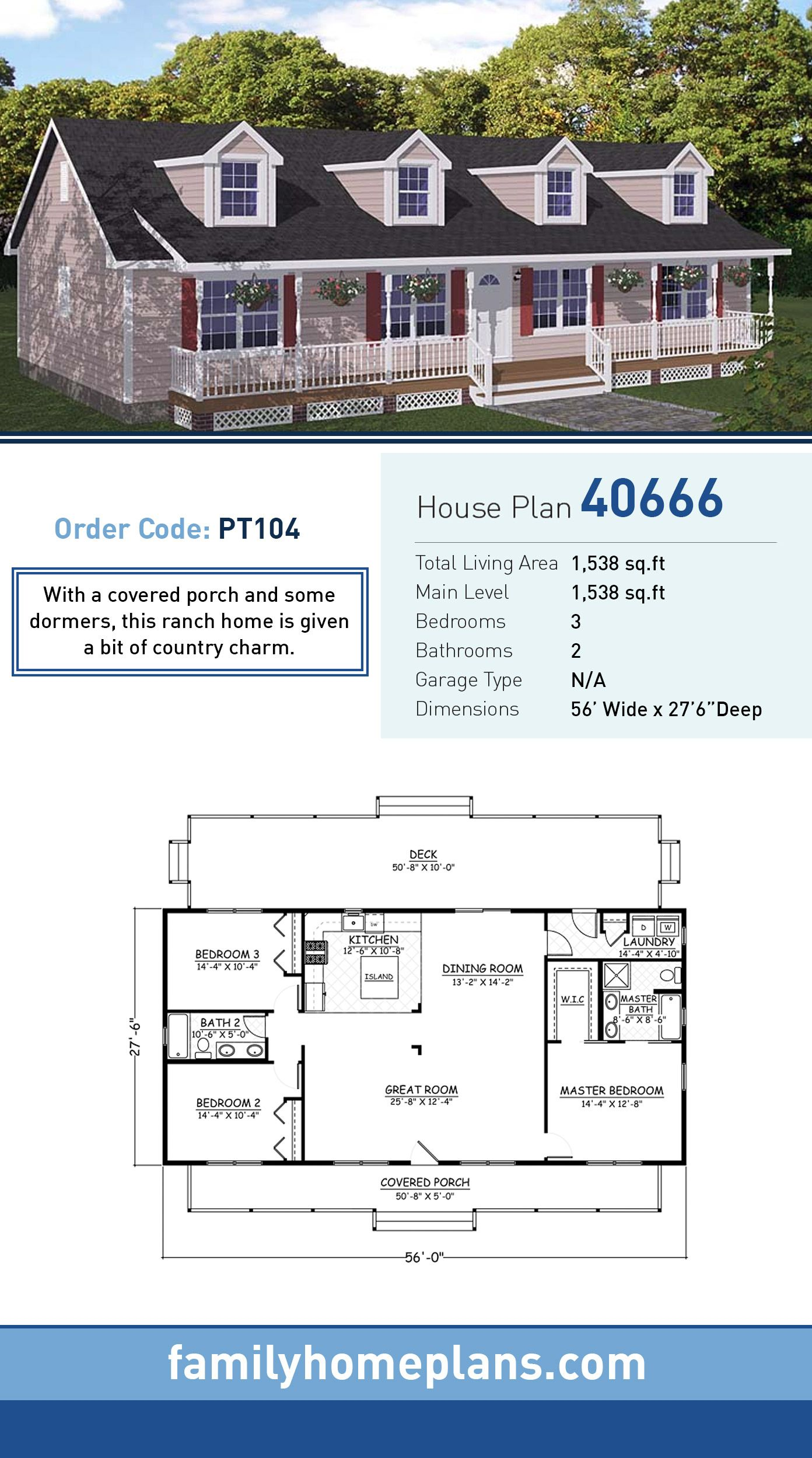 Southern Style House Plan 40666 With 3 Bed 2 Bath Ranch House Plans Ranch Style House Plans Small House Plans