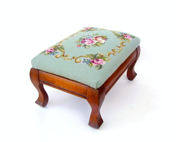 Antique Wood Footstool, Vintage Foot Stool, Needlepoint Cushion, Mint Green  U0026 Pink Floral Photo