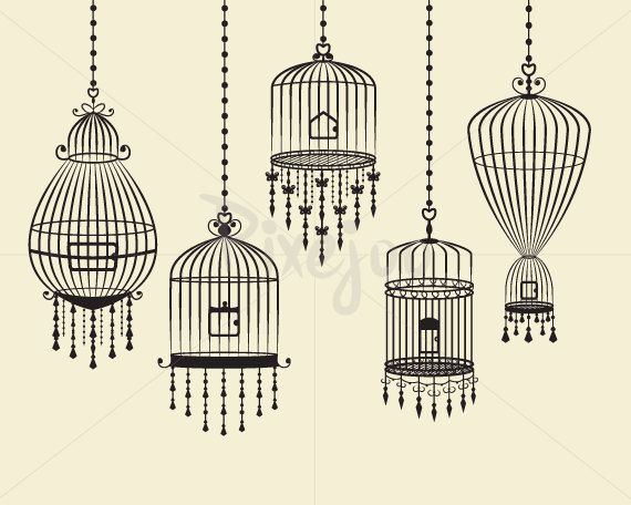 Birdcages Cliparts / Digital Download // Black by Pixejoo on