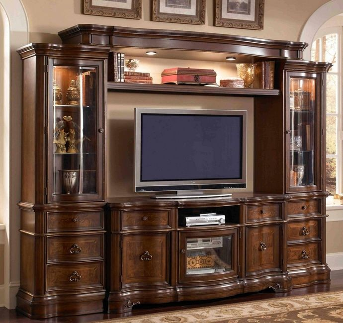 4 Pc Florenza Ii Collection Dark Wood Finish Tv Entertainment Center Wall Unit With Gl Cabinets