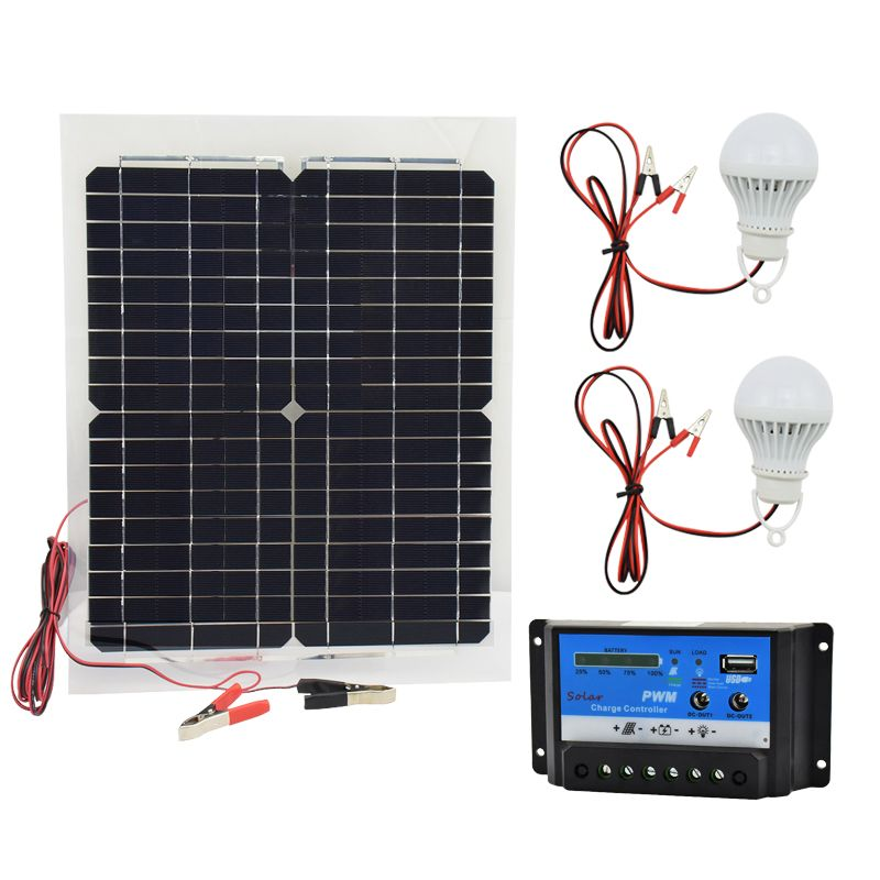 12v 20w Monocrystalline Solar Panel With 10a Charger Controller And 2pcs Led L Rechargeable Battery Charger Monocrystalline Solar Panels Rechargeable Batteries