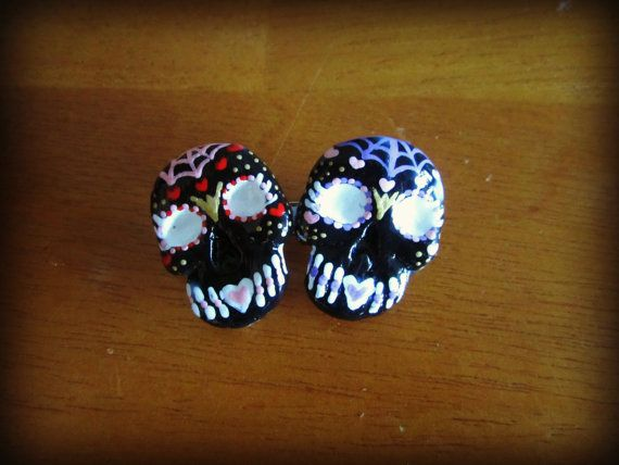 Day of the Dead Skull Hearts Duo Love Hair by HauntedHairCandy, $9.00