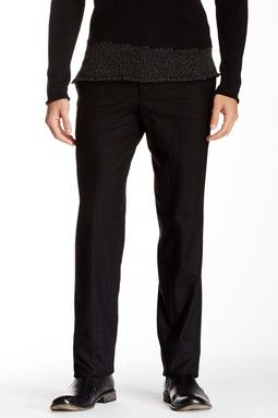 Solid Wool Blend Trouser