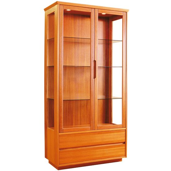 Bjorn lighted display cabinet in teak and glass with bottom storage drawers. - Bjorn Lighted Display Cabinet In Teak And Glass With Bottom