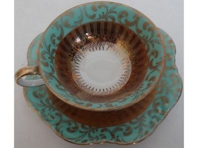 Eberthal Porcelain Demitasse Cup and Saucer Robin's Egg Blue & Gold