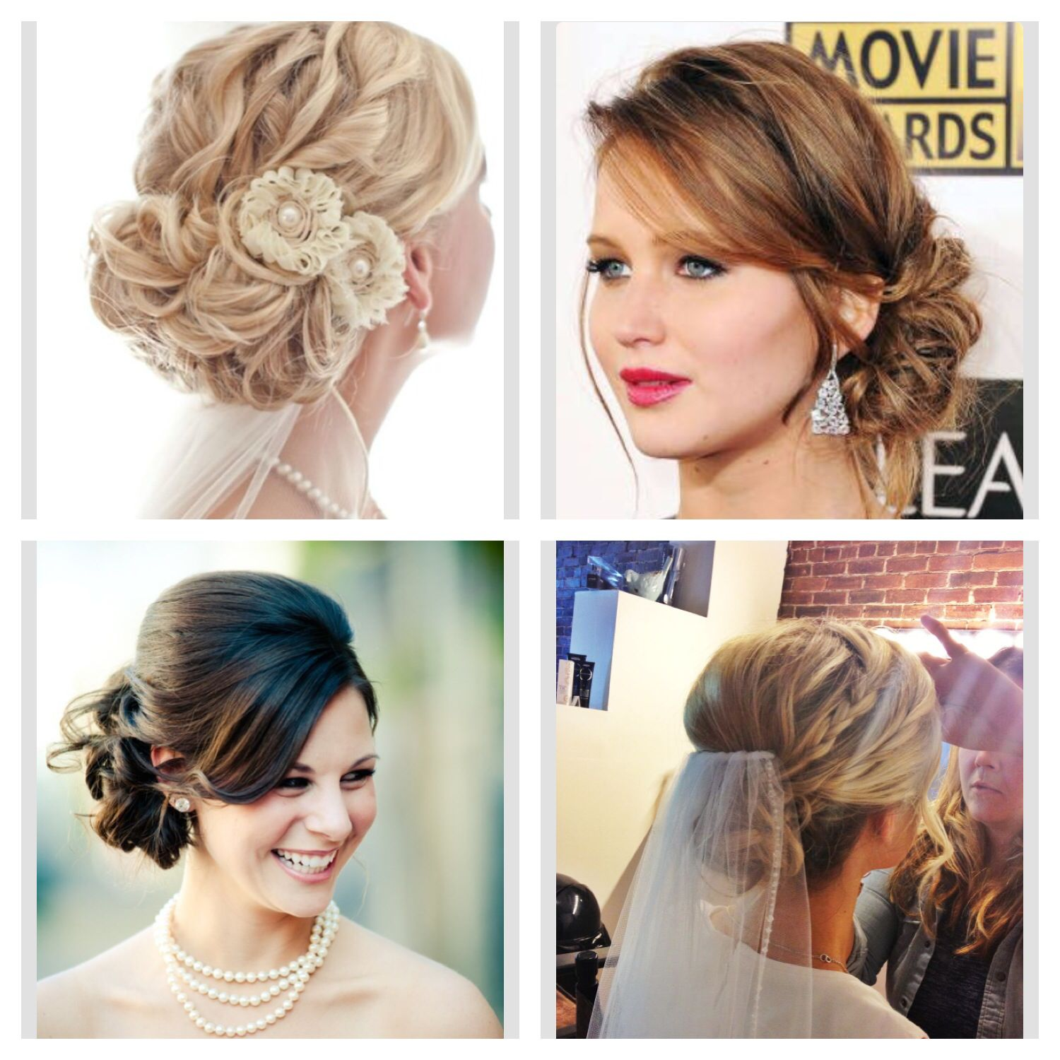 collection of #wedding #updos with and without full side sweeping