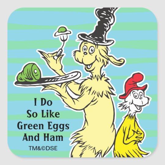 Dr Seuss Green Eggs And Ham Friend Sam I Am Square Sticker Zazzle Com In 2021 Green Eggs And Ham Green Eggs Dr Seuss Images