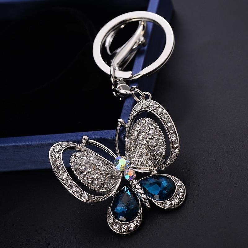 d97cba04fc2 New Lovely Crystal Butterfly Keychains Creative Key Chain Car ...