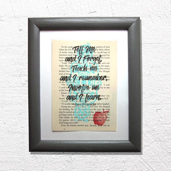Teacher mentor quote print on a book page, teacher gift, Tell me and I forget, teach me and I remember, involve me and I learn #mentorquotes