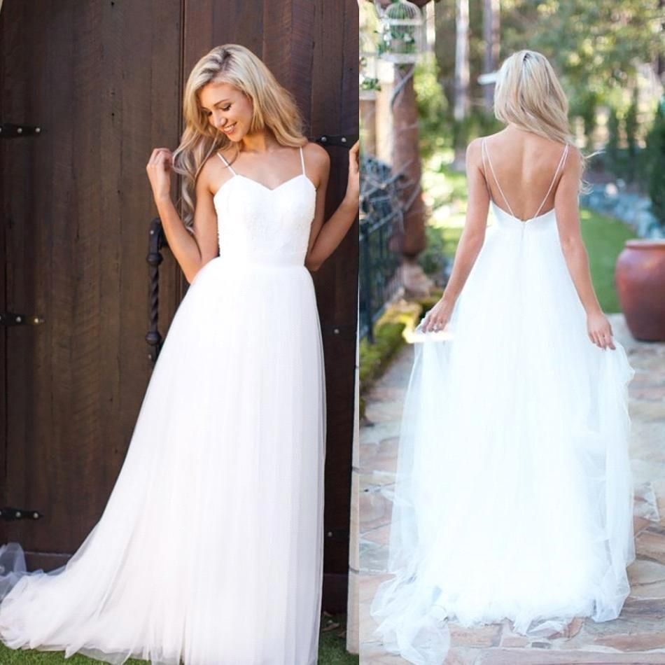f88deb9f0f0 What Wedding Dress Fabrics Are Good in the Summer    Spaghetti Strap Tulle  Summer Wedding Dress