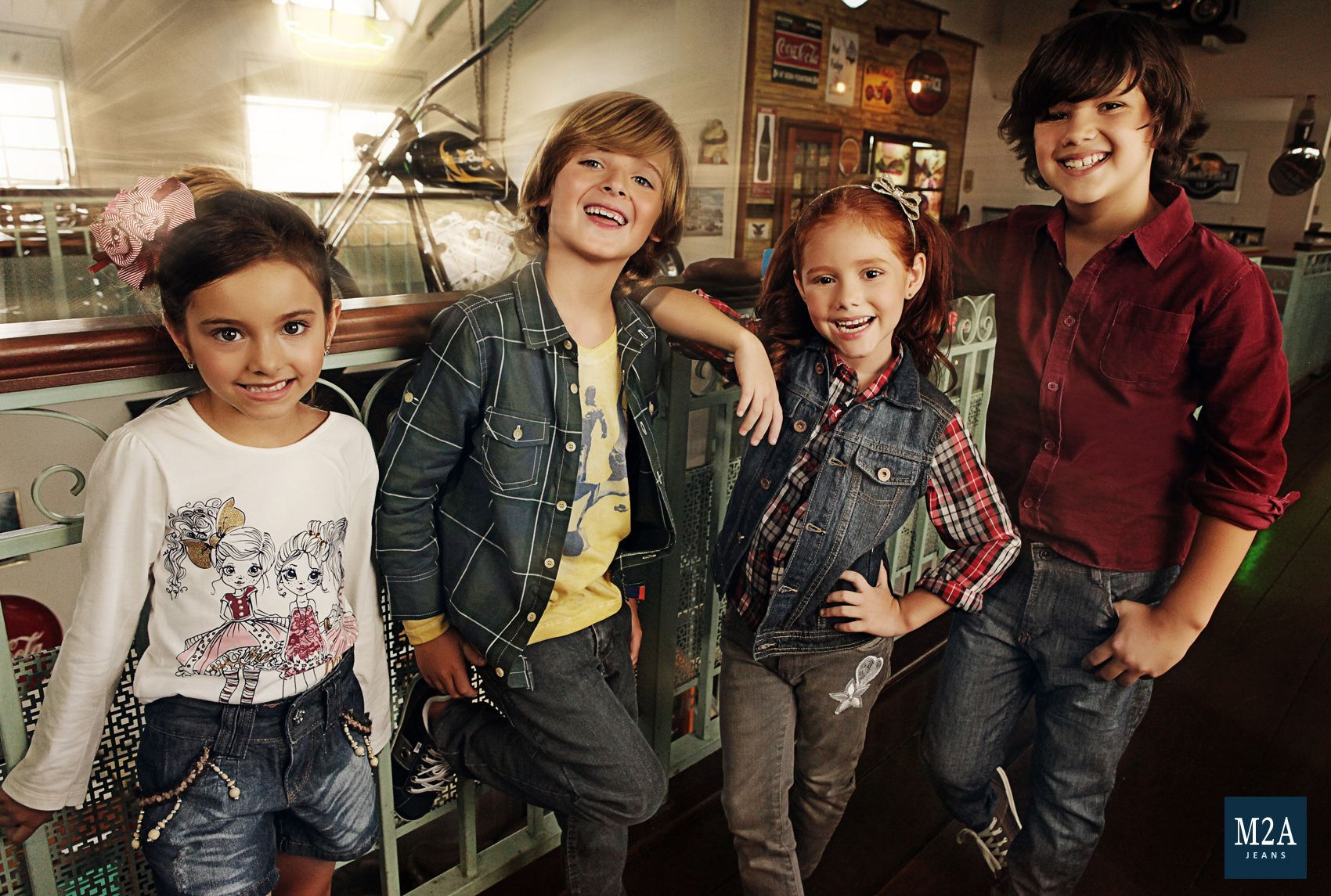 M2A Jeans | Fall Winter 2014 | Kids Collection | Outono Inverno 2014 | Coleção Infantil | calça jeans infantil masculina; look infantil; shorts jeans infantil feminino; vintage; calça jeans infantil feminina; crianças; denim kids; camisa xadrez.
