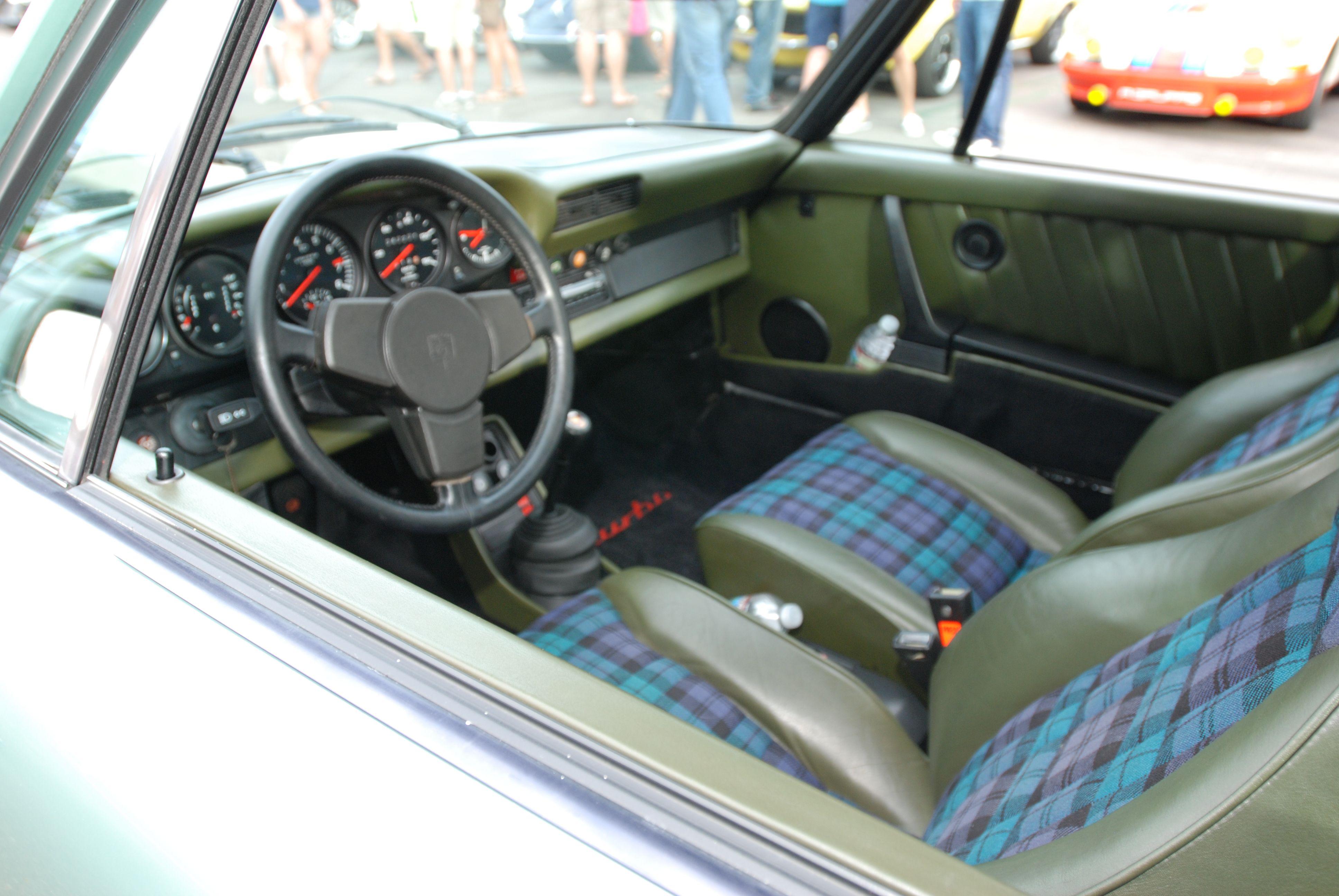porsche tartan seat green interior w tartan plaid seat inserts cars coffee irvine 9 30 13. Black Bedroom Furniture Sets. Home Design Ideas