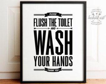 Flush Sign Bathroom Wall Art Printable Art Flush Toilet Etsy In 2020 Kids Bathroom Art Funny Bathroom Art Bathroom Art Prints