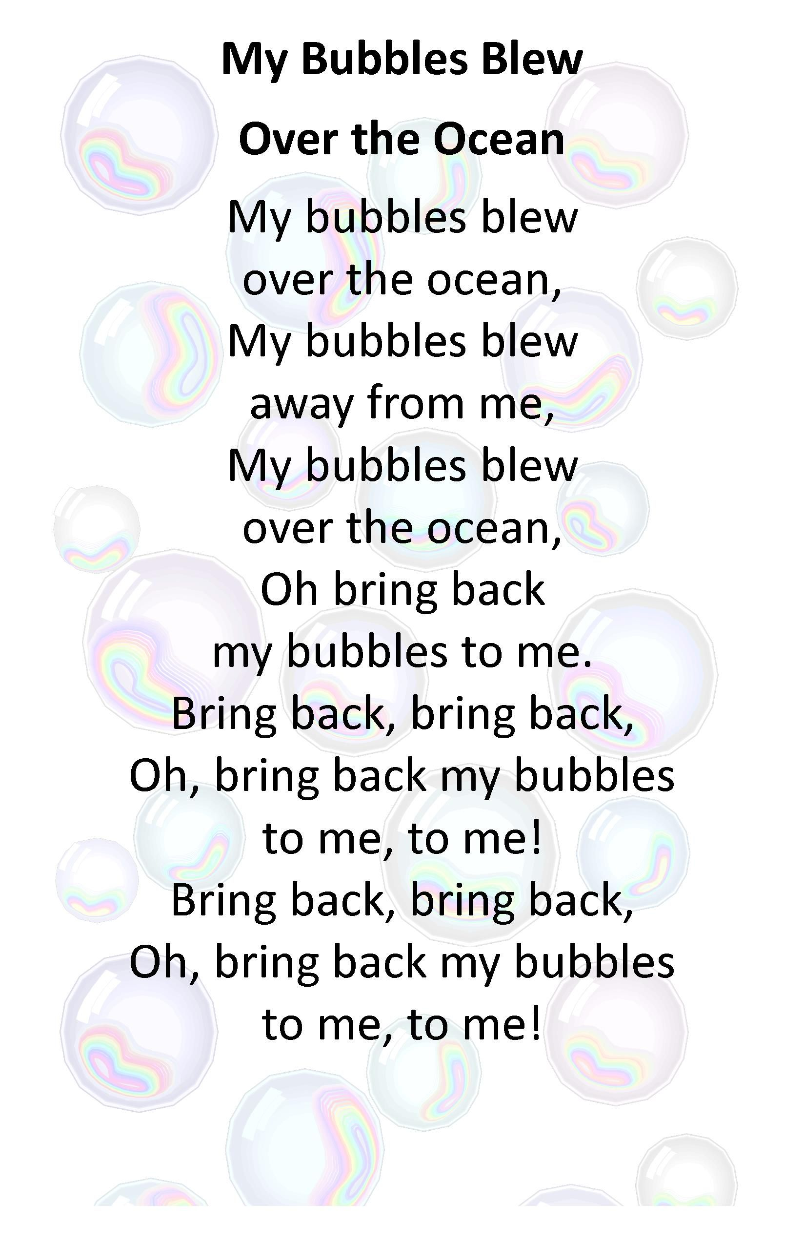 Itty Bitty Beach Babies Rhyme My Bubbles Blew Over The Ocean