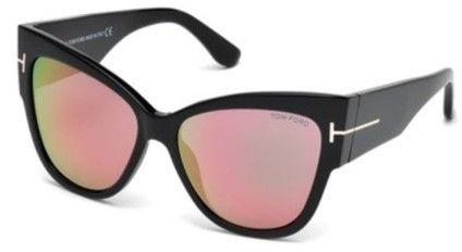 346a9efa8baf5 Tom Ford Anoushka TF371 TF 371 01Z Shiny Black Gold Cat Eye Sunglasses 57mm