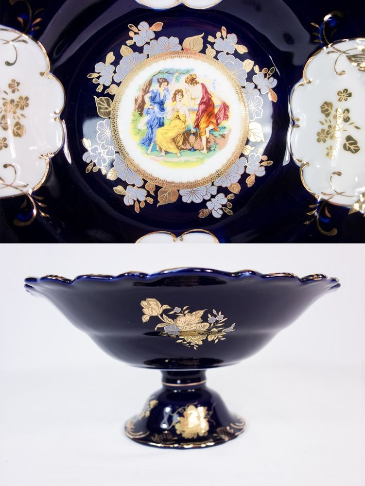 Thun cobalt porcelain 24ct gold fruit bowl on p check for Sveglia thun elegance