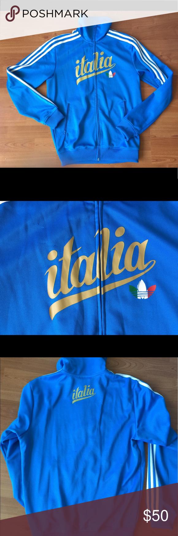 Adidas Italia Italy Blue Track Jacket Adidas Italia Track Jacket Mens