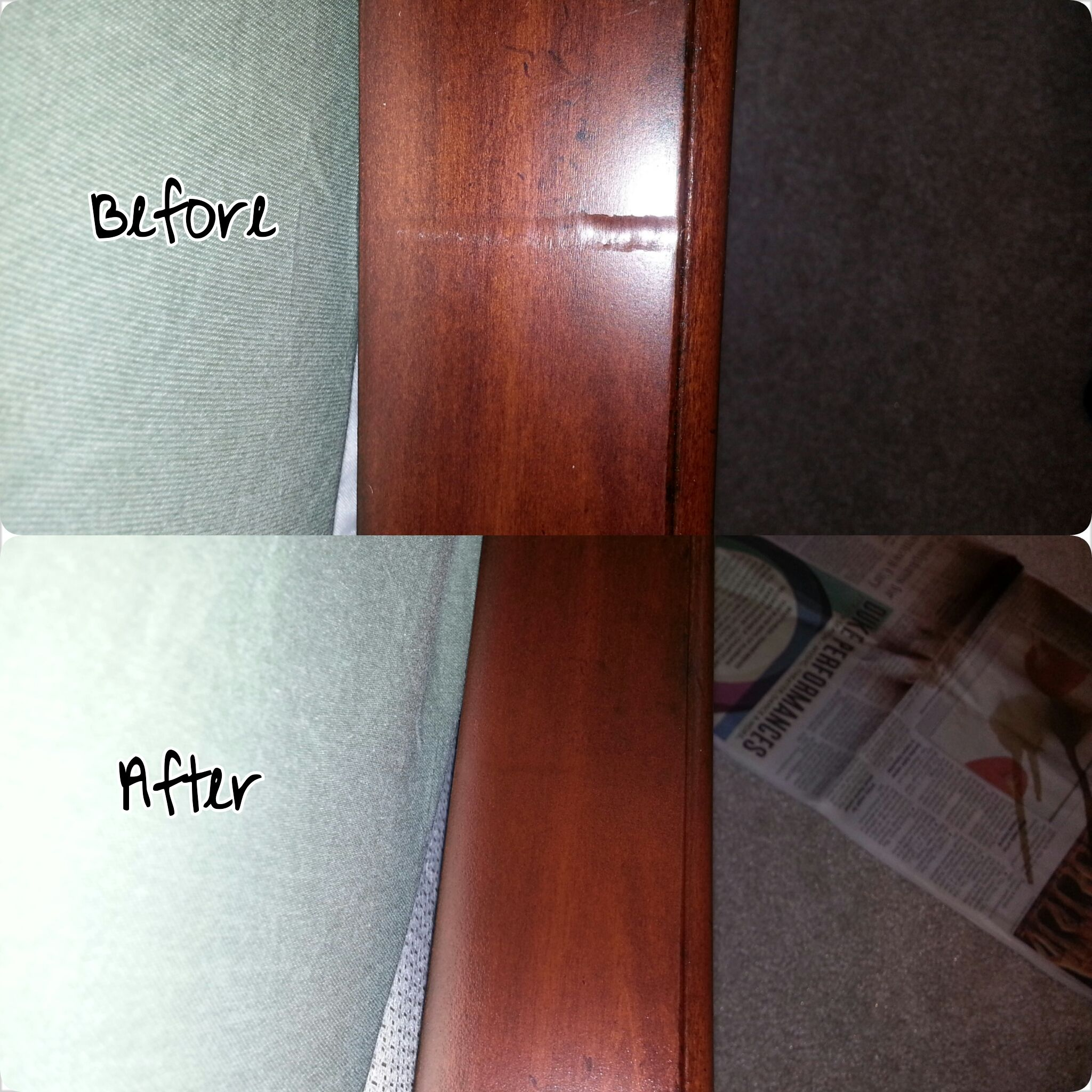 In home repair - repaired dent on bed rail