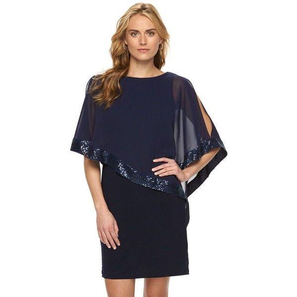 d96c8aea2ce Women s Chaps Sequin Cold-Shoulder Chiffon-Overlay Evening Dress (€79) ❤