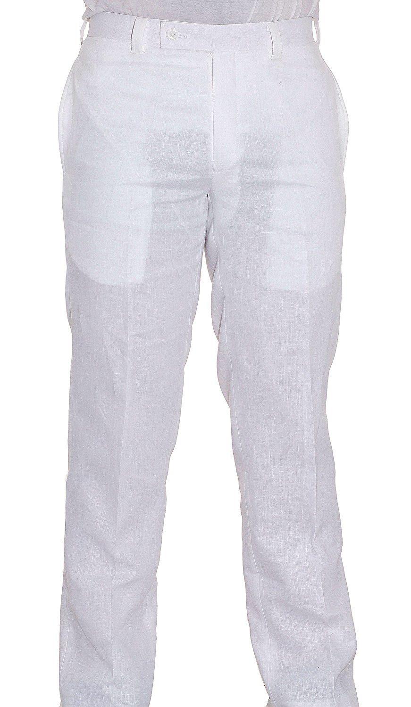 Calvin Klein Offwhite Linen Dress Pants For Men Flat Front Style Trousers At Amazon Men S Clothing Store Linen Dress Pants Mens Dress Pants Dress Pants