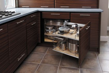 StarMark Cabinetry Blind Corner Pantry with Chrome/Wood ...